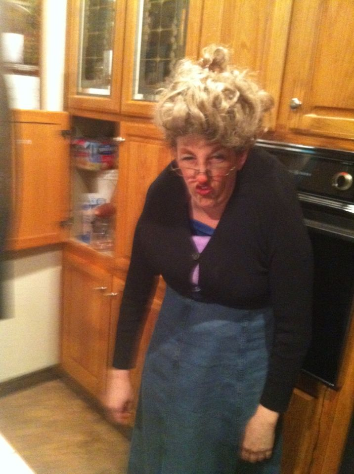 This is my mother dressed up as an old person for a funny skit
