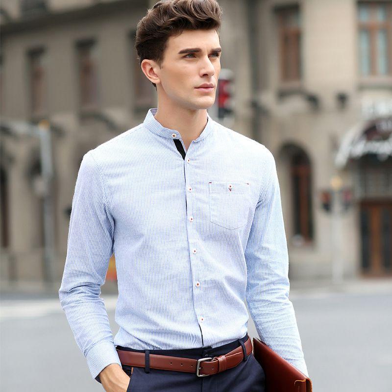 Camisas Manga Larga Hombre Sin Cuello Buscar Con Google Mens Shirt Dress Mens Outfits Men Shirt Style