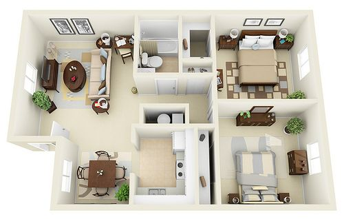 2 1 3d Floor Plan 2 Bedroom House Design Bedroom House Plans House Floor Plans