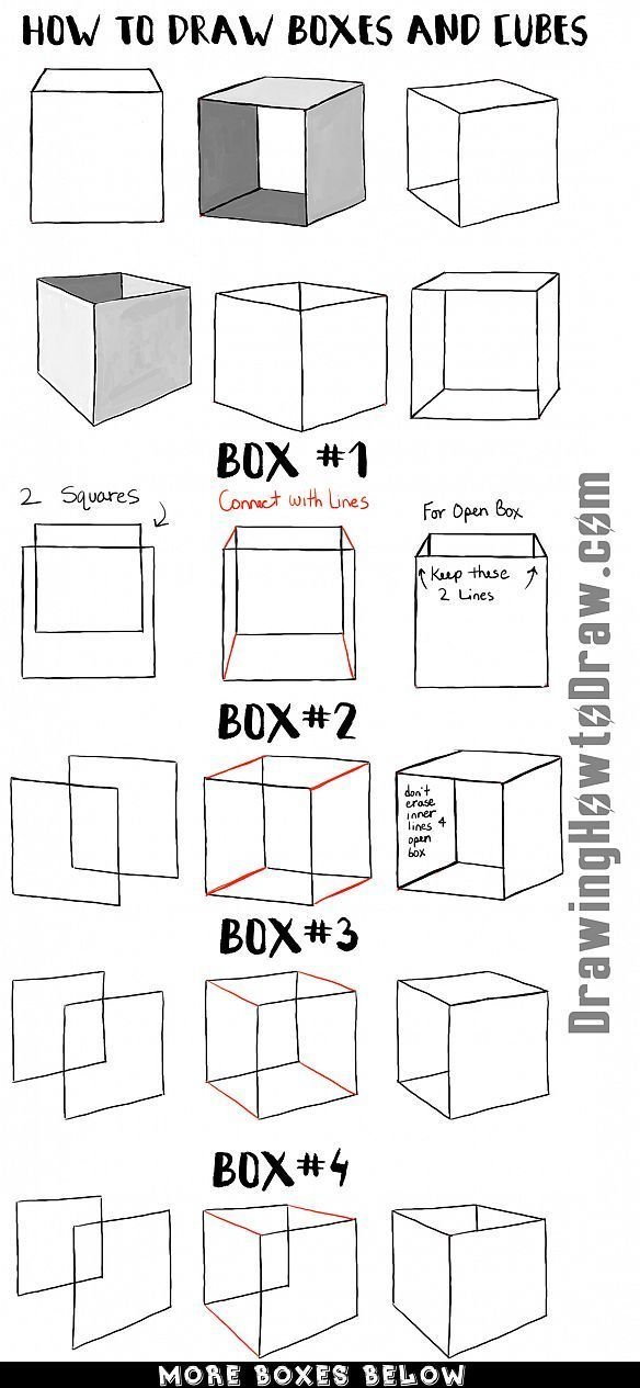 How to Draw Boxes and Cubes and How to Shade Them Step by