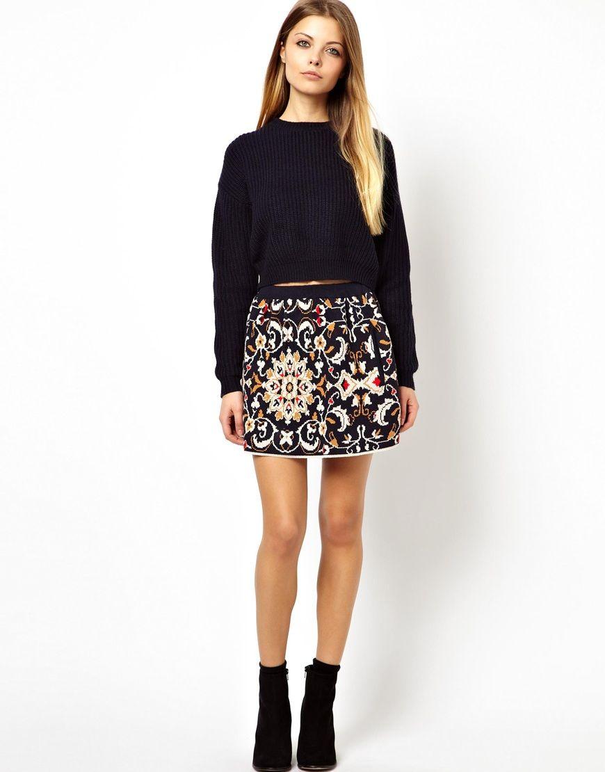 8769bd76 Pull&Bear Printed Knitted Skirt | WANT | Pinterest | Bear print ...