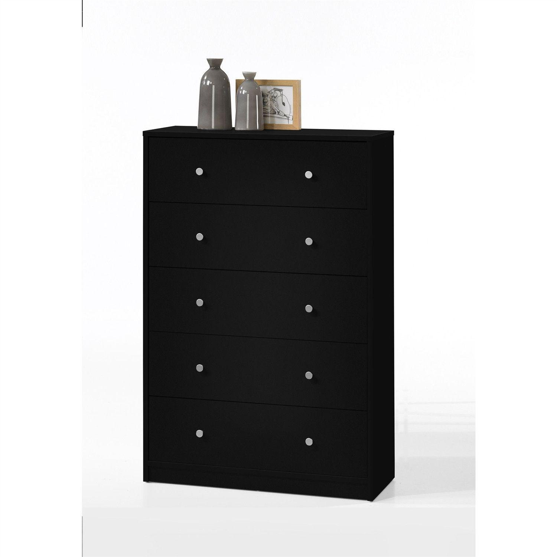 Modern bedroom storage drawer chest in black wood finish
