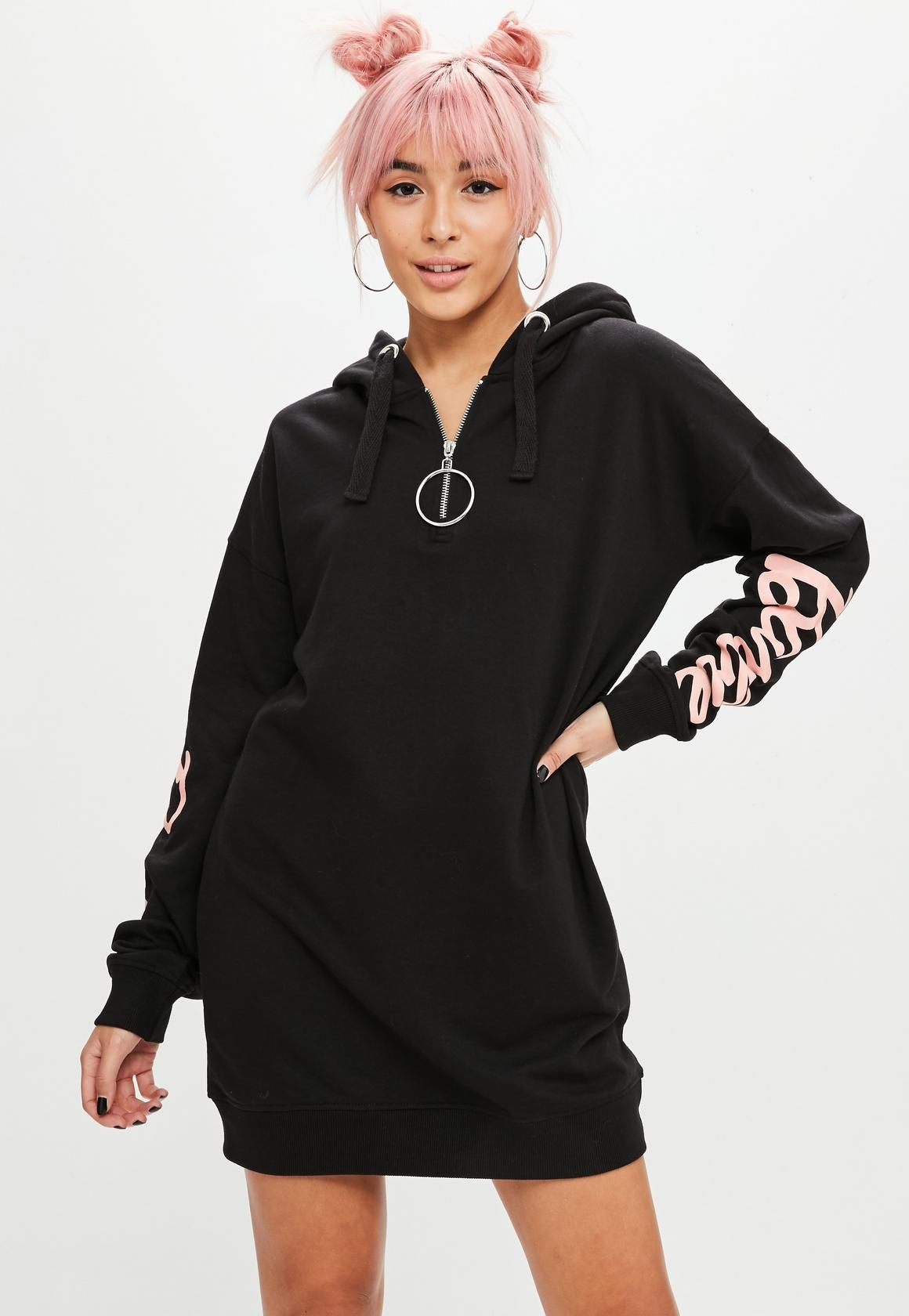 711fe50823 Missguided - Barbie x Missguided Black Hooded Sweat Dress