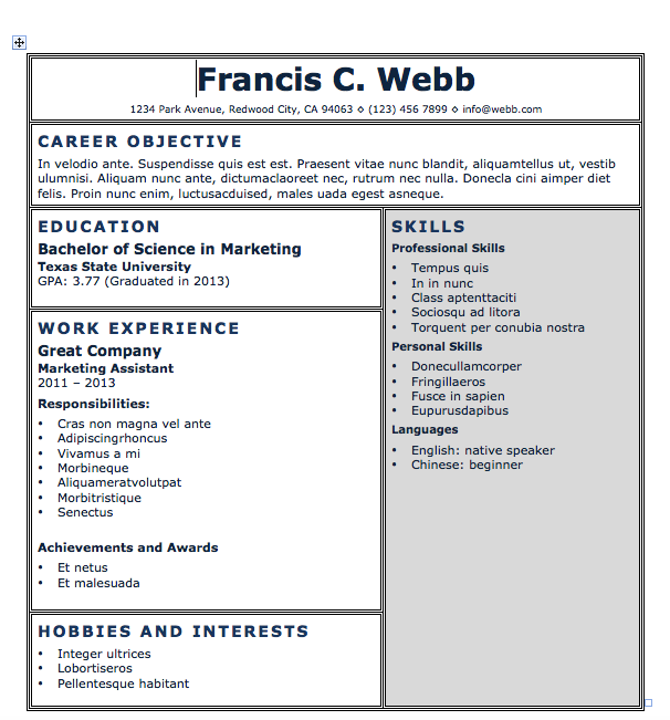 Resume Templates Microsoft Word 2013 Free Resume Download Blocks  Microsoft Word Format  Resumes .