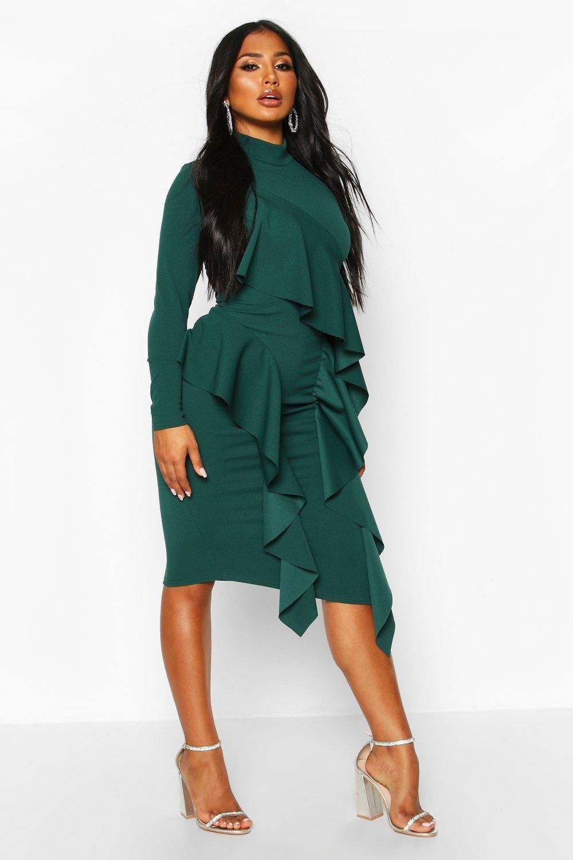 High Neck Ruffle Front Midi Dress Boohoo In 2020 Dresses Midi Dress Green Midi Dress