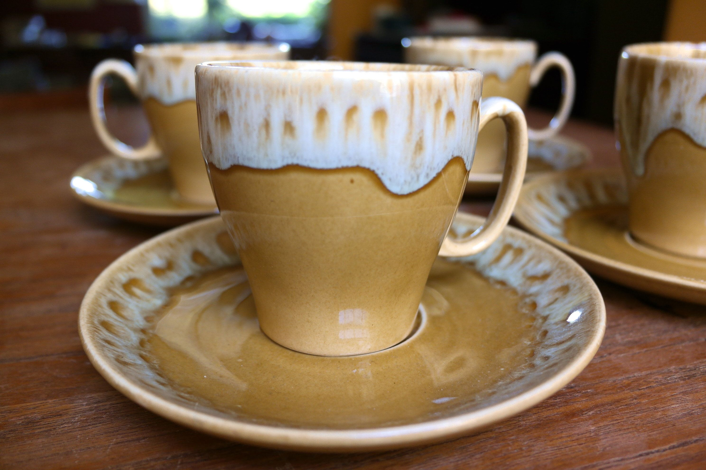 Vintage USA Butterscotch Drip Pottery Coffee Mugs and