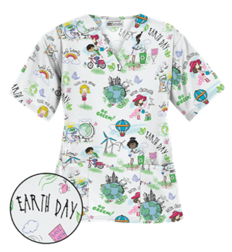edd17565c89 UA Earth Day White Print Scrub Top Style # PC61EDW In recognition of  Environmental Awareness,