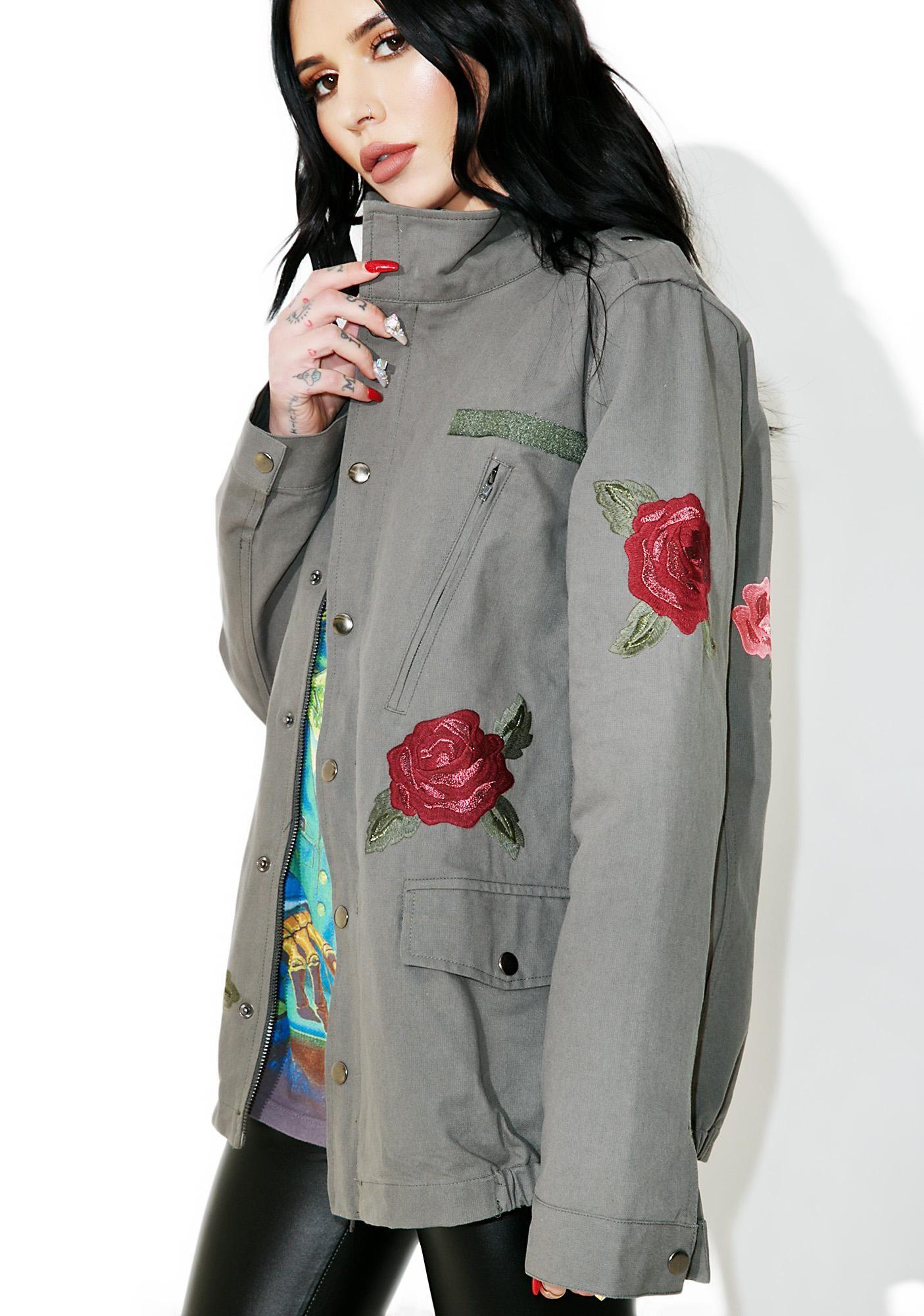 Rose Patch Military Jacket   Dolls Kill