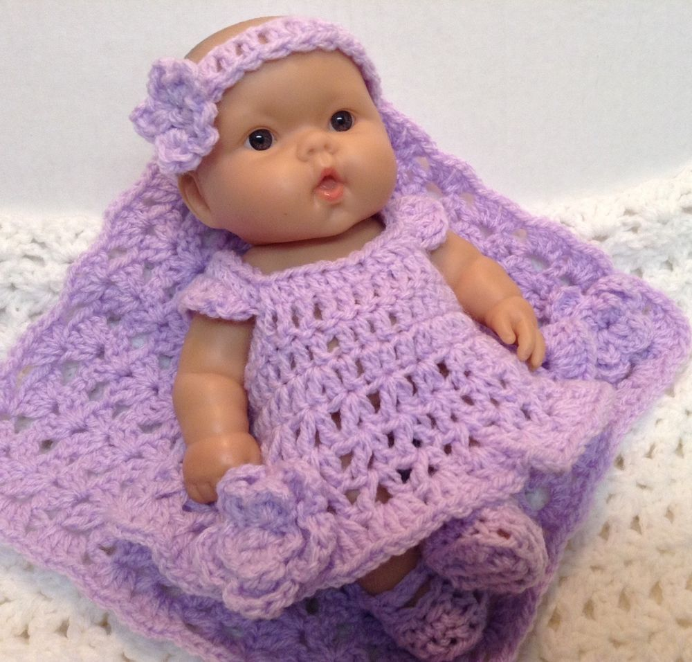 10 Inch Doll Clothes Dress Blanket Set Fits Berenguer Lots To Love Reborn Crochet Baby Dress Doll Clothes Crochet Baby