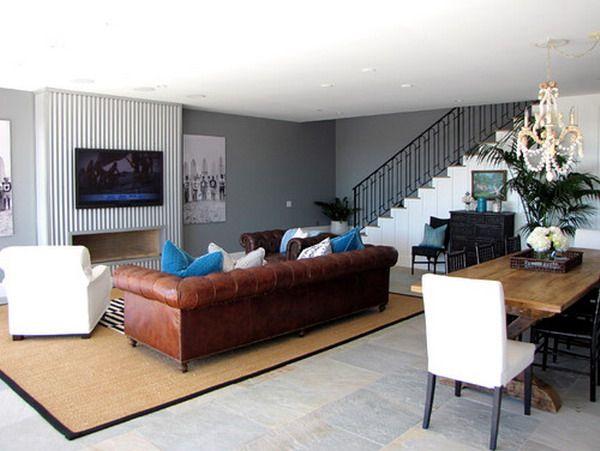Marvelous Living Room White Slate Blue Tan And Dark Brown Color Sch Ibusinesslaw Wood Chair Design Ideas Ibusinesslaworg