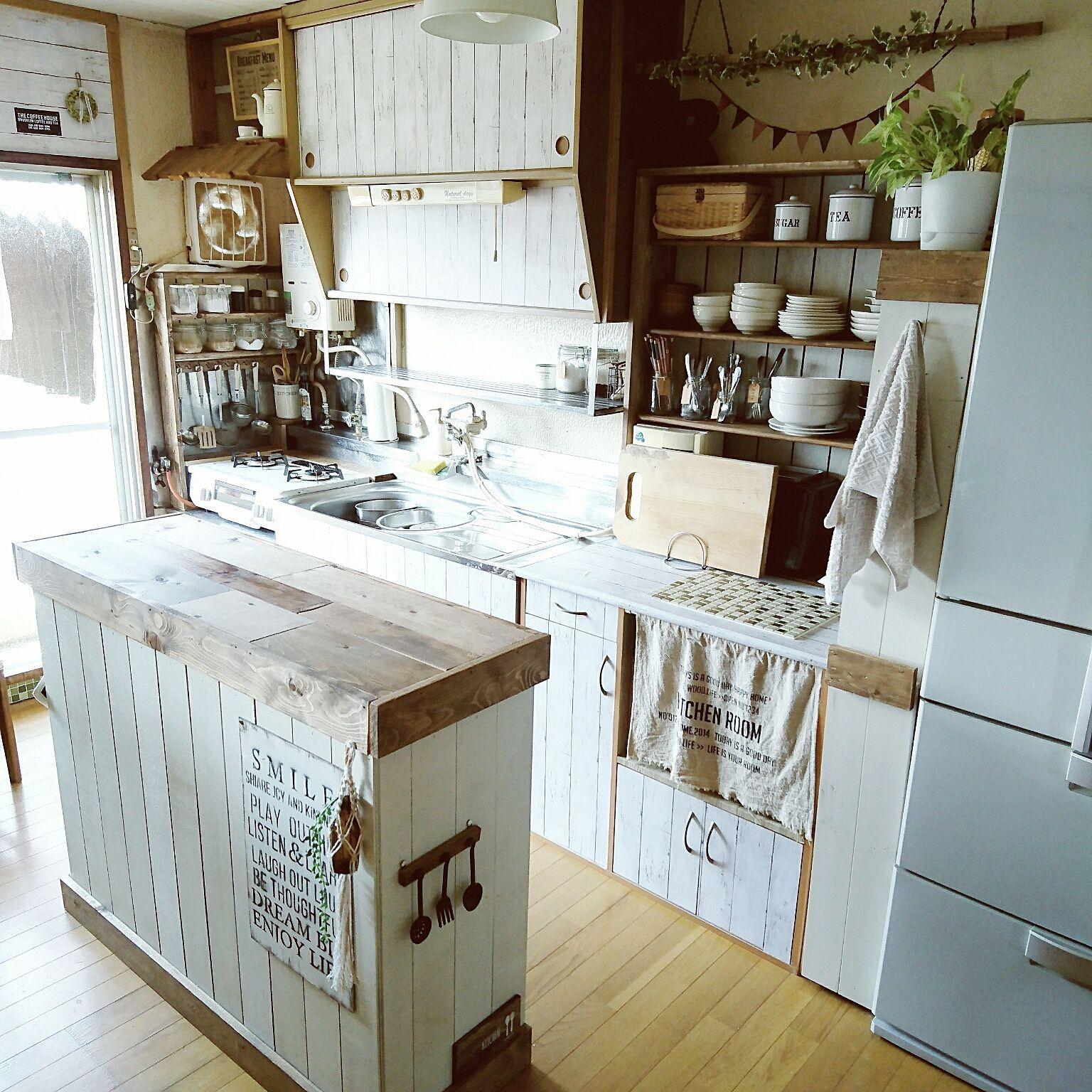 キッチン 団地 Diy だってそれが 食器棚diy などのインテリア実例