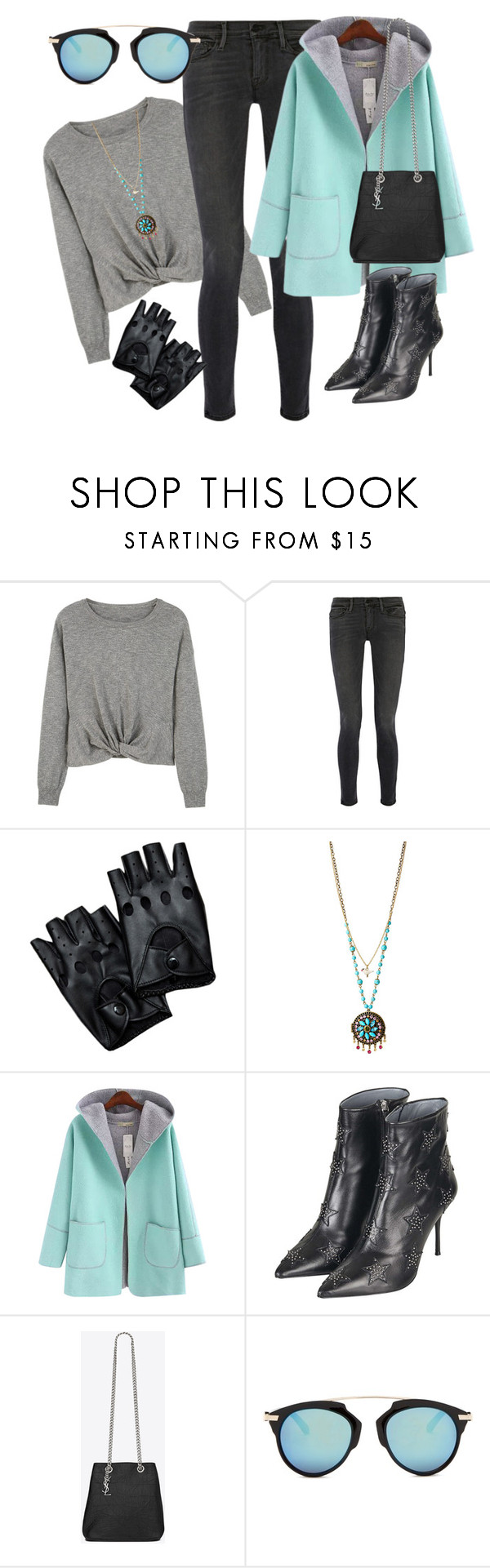 """""""softened tuff girl"""" by ffendi ❤ liked on Polyvore featuring MANGO, Frame Denim, Betsey Johnson, Chicnova Fashion, Topshop and Yves Saint Laurent"""