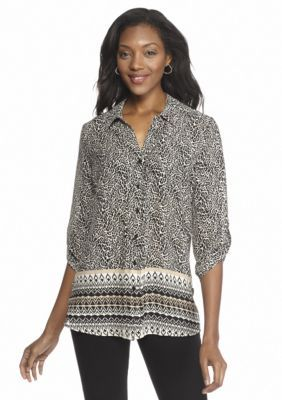 Kim Rogers  Printed Button-Up Shirt with Pleats