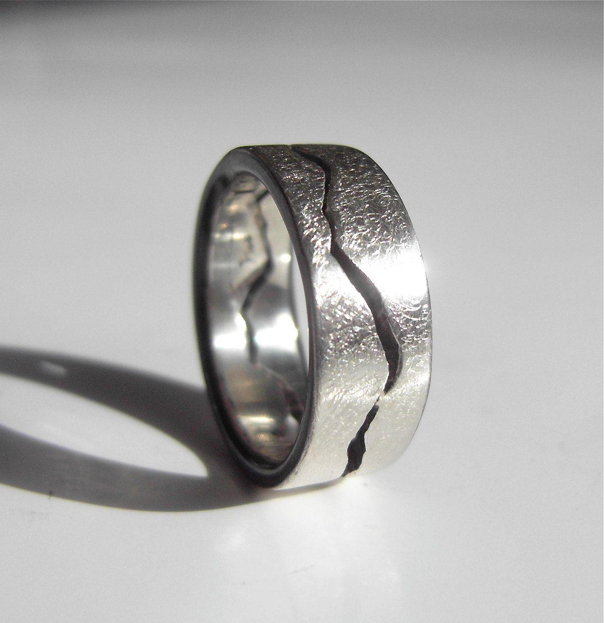 Storm Texture Custom Mountain Range Ring Handmade by BentMLjewelry