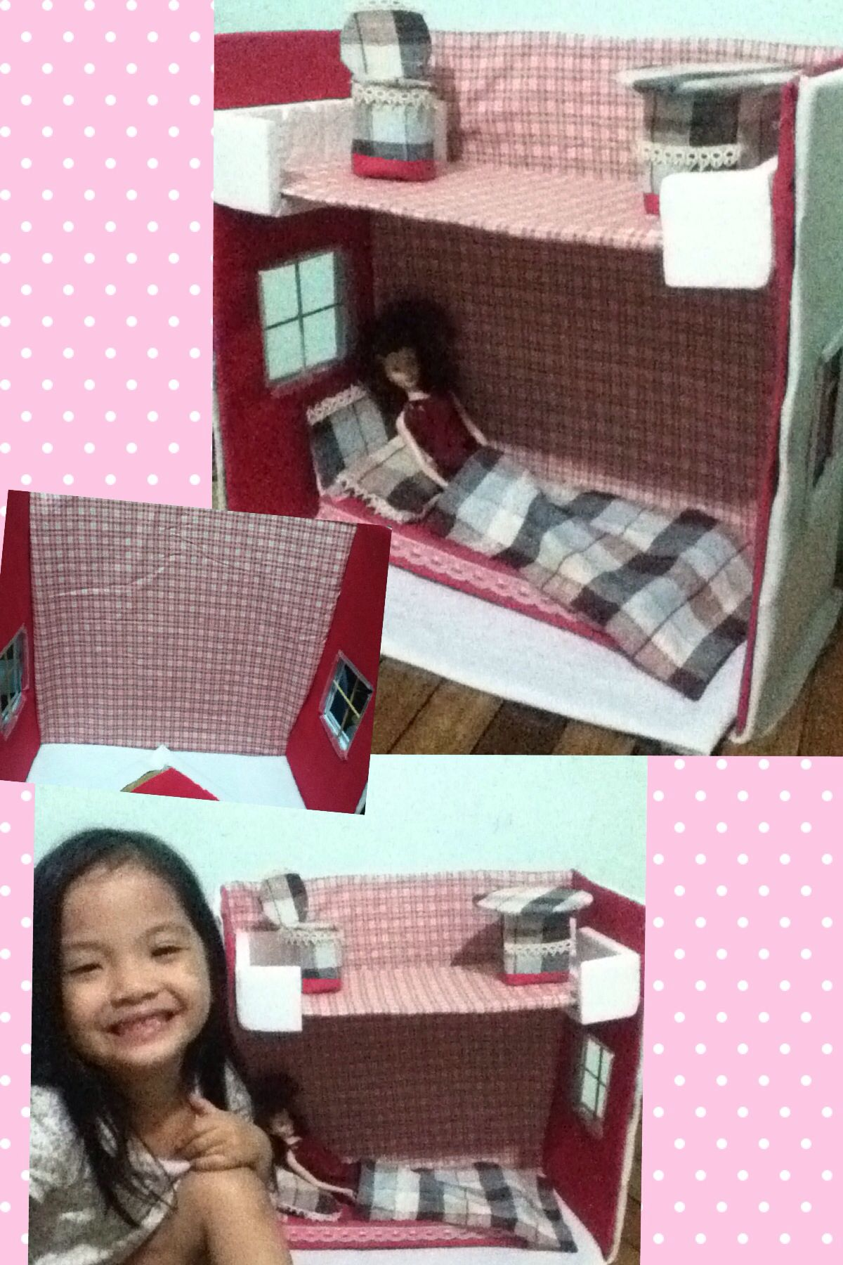 Doll house (not yet finished) my li'l girl is excited to put all her stuff I made out of carton and covered with cloth, BBQ sticks, & plastic spoon . It's just that I ran out of materials. And she's using it now no design, no roof, no details, no finishing touch..