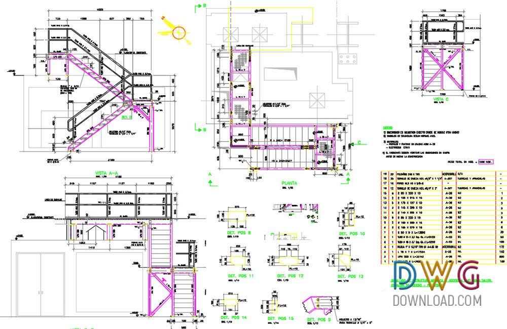 Metallic Stairs Dwg Drawing stairs, stairs details dwg