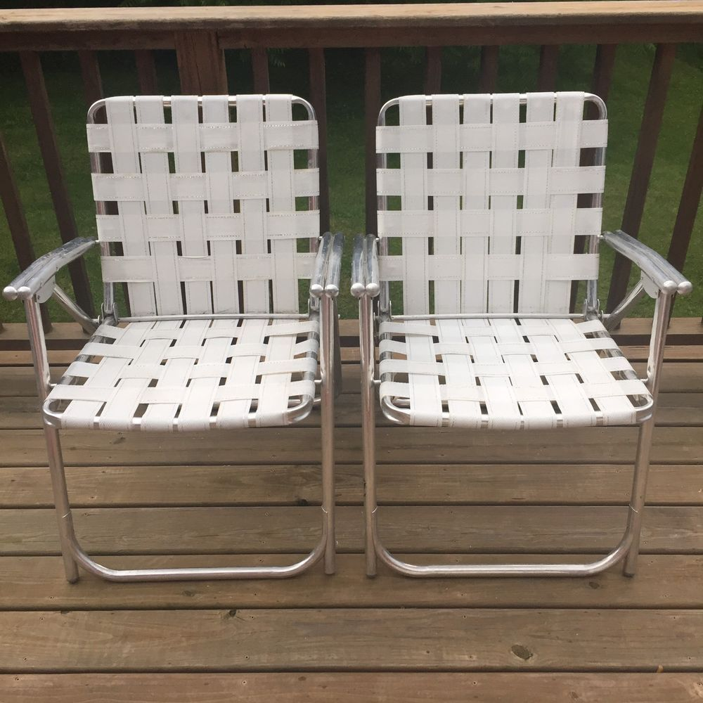 Woven Lawn Chair Lot 2 Vintage Aluminum Frame Woven Webbed Folding Metal Lawn