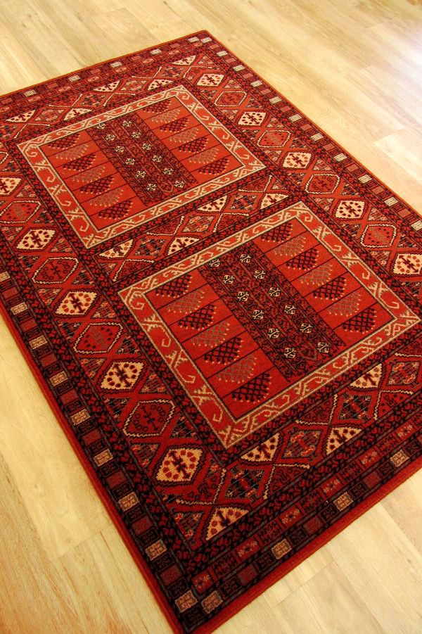Afghan 7901 Red Rug A Lovely Quality Traditional Wool In Deep