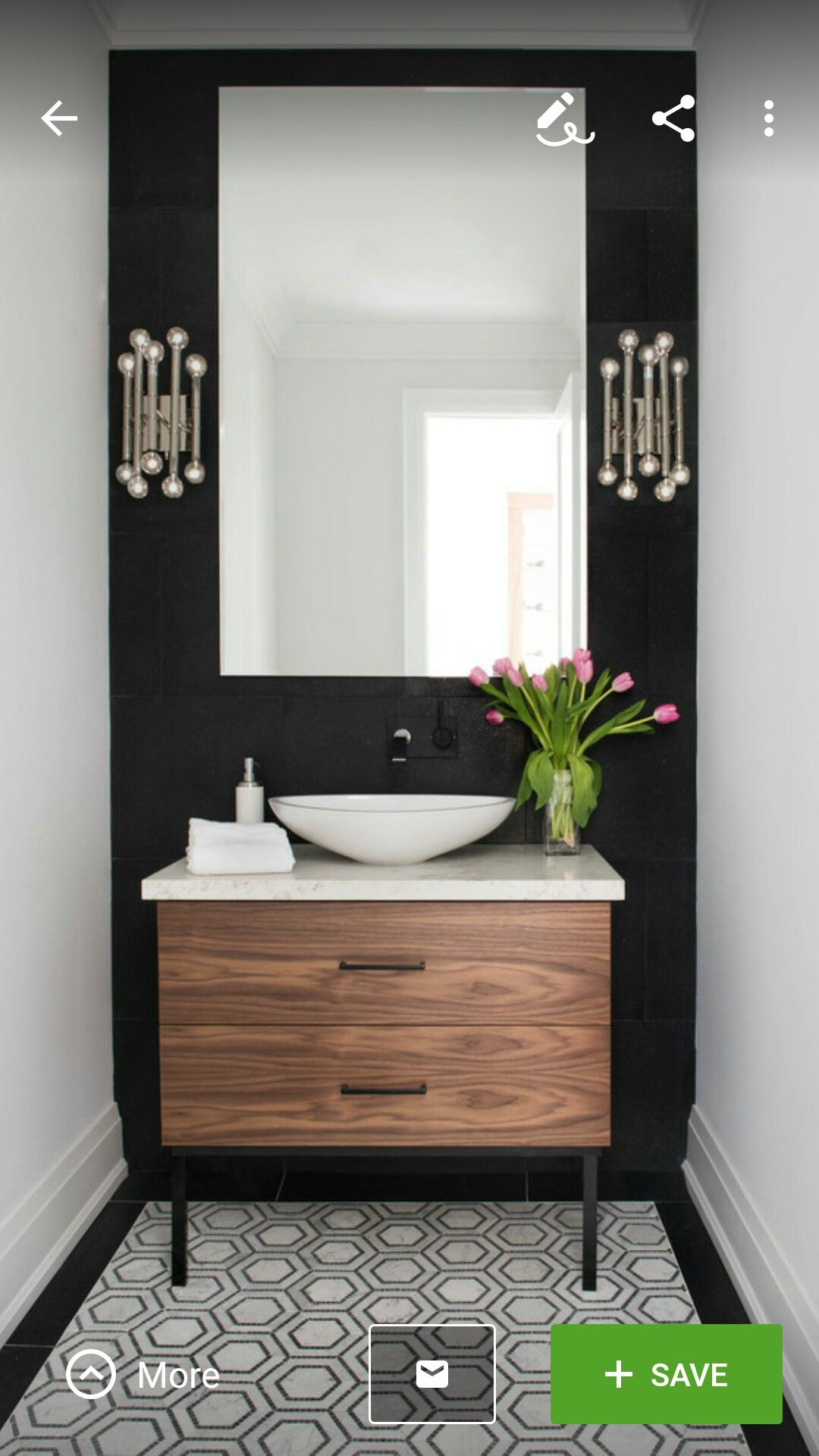 Beautiful powder room contemporary half bath black and - Beautiful modern bathroom designs ...
