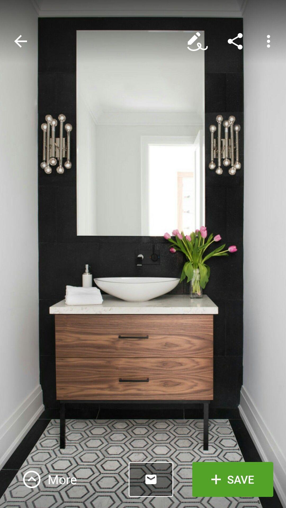 Beautiful Powder Room Contemporary Half Bath Black And White