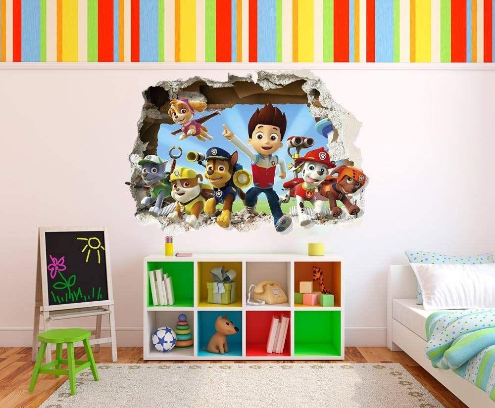 Paw Patrol Wand Aufkleber In 3d Optik Dieses Coole Wandtattoo Sieht So Aus Als Wurden Die Helden Von Paw Patrol Direkt Dur Wandbilder Kinder Zimmer Aufkleber