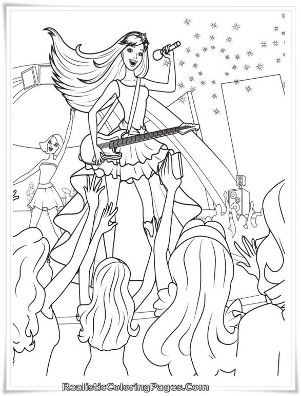 Barbie Princess Popstar Coloring Page