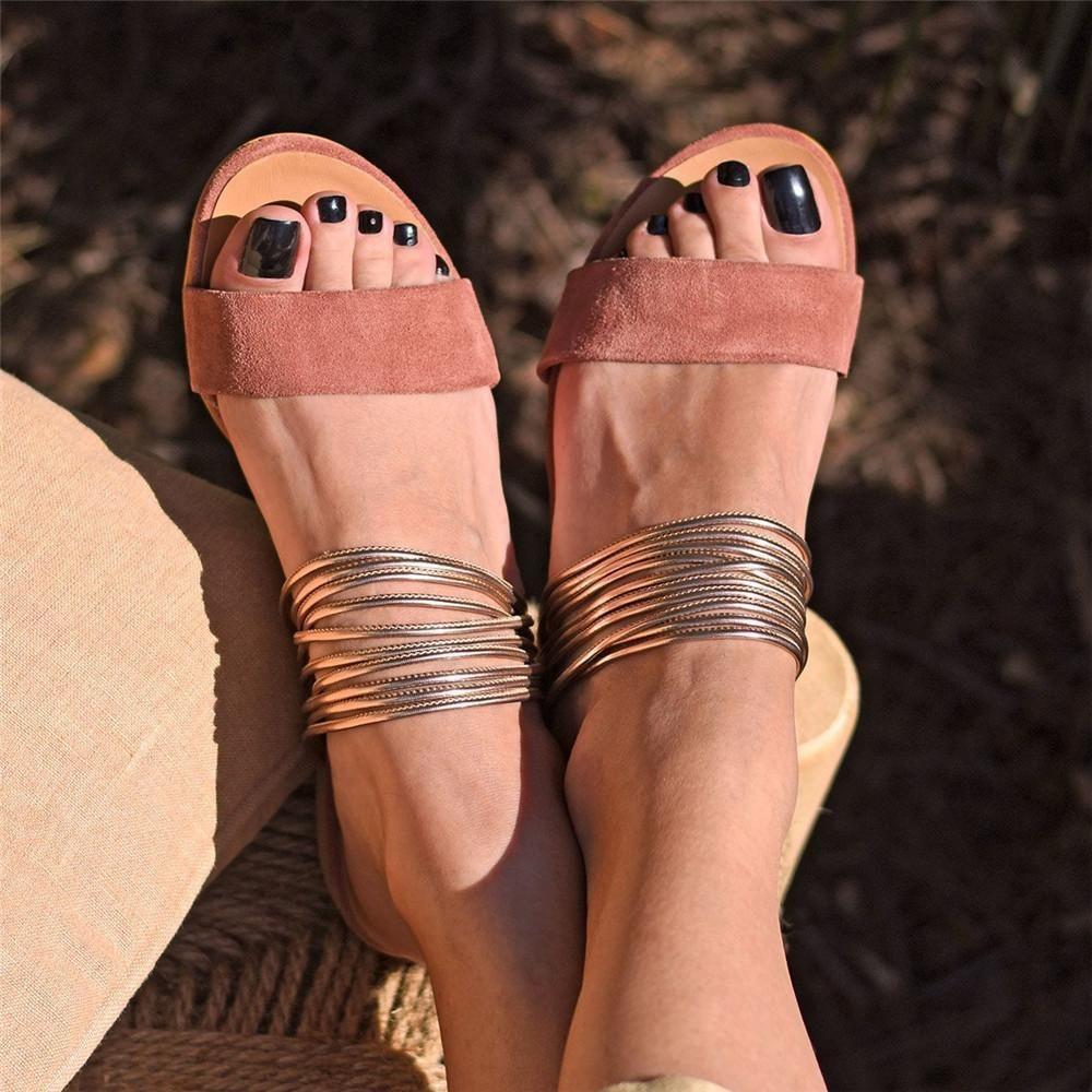 Women Sandals Hot Fashion Women Summer Beach Roman Sandal Ladies Open Toe Flat Sandal,Brown,35