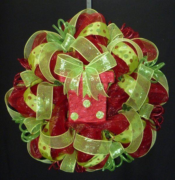 christmas wreath red lime green deco mesh christmas wreath home ...
