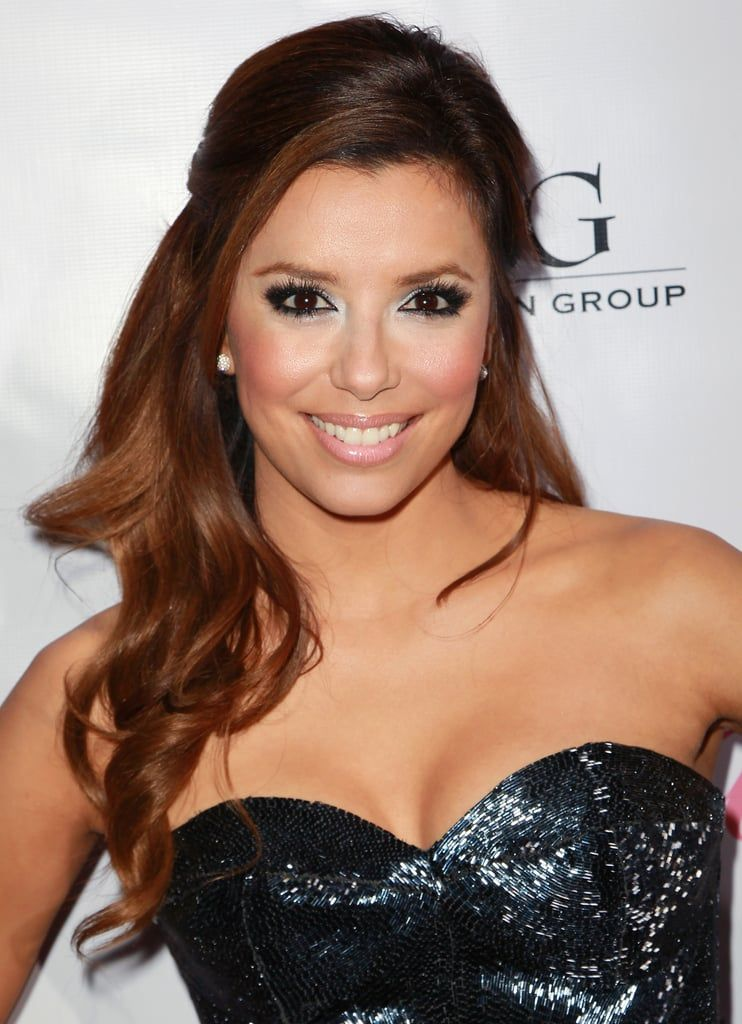 For the launch of her Eva by Eva Longoria fragrance in 2010, she wore her hair in a half-up style with glossy curls. Her makeup featured eye-brightening silvery shadow with pink lips and cheeks.