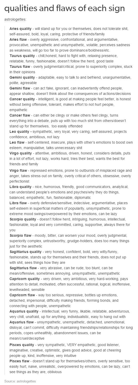 qualities and flaws of each sign the signs signs qualities and flaws of each sign