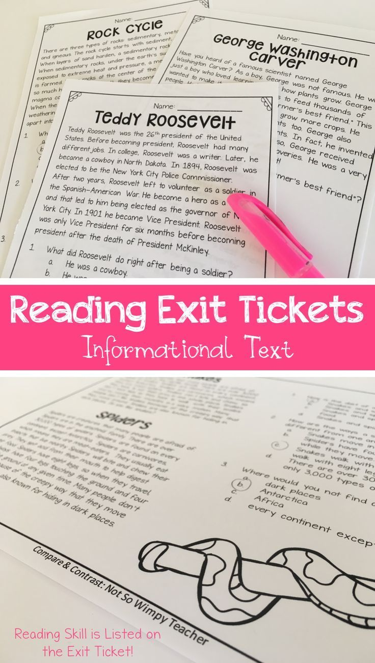 Reading Exit Tickets- Informational Text | Pinterest | Reading ...