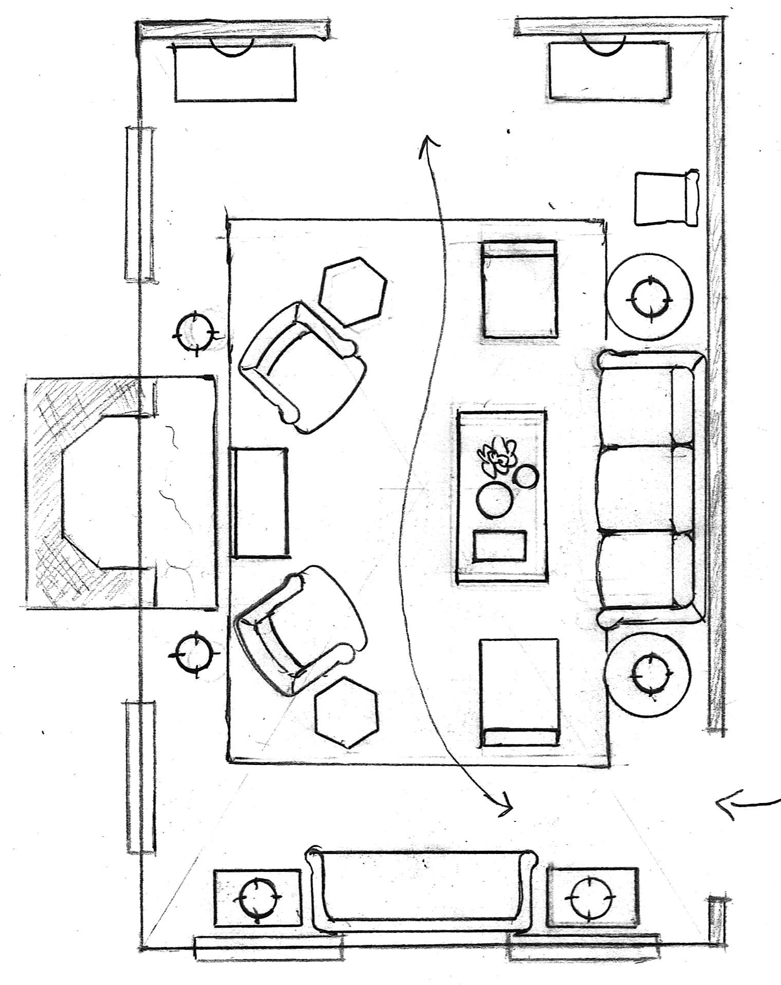 One Living Room Layout Seven Different Ways Living Room Floor Plans Family Room Layout Living Room Furniture Layout