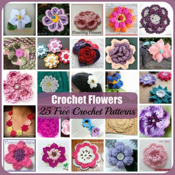 Crochet Flowers 25 Free Crochet Patterns Crochet Pinterest