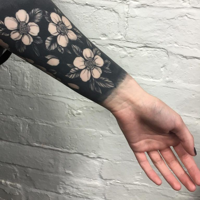 Negative Space Black Flowers Tattoo Black Flowers Tattoo Black Tattoos Flower Tattoos
