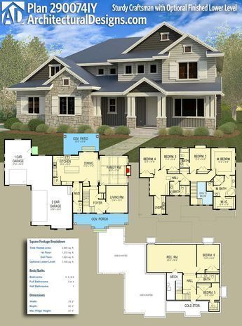 Architectural designs craftsman house plan iy gives you beds baths and over sq ft of heated space it also comes with  optional sturdy finished lower level rh pinterest
