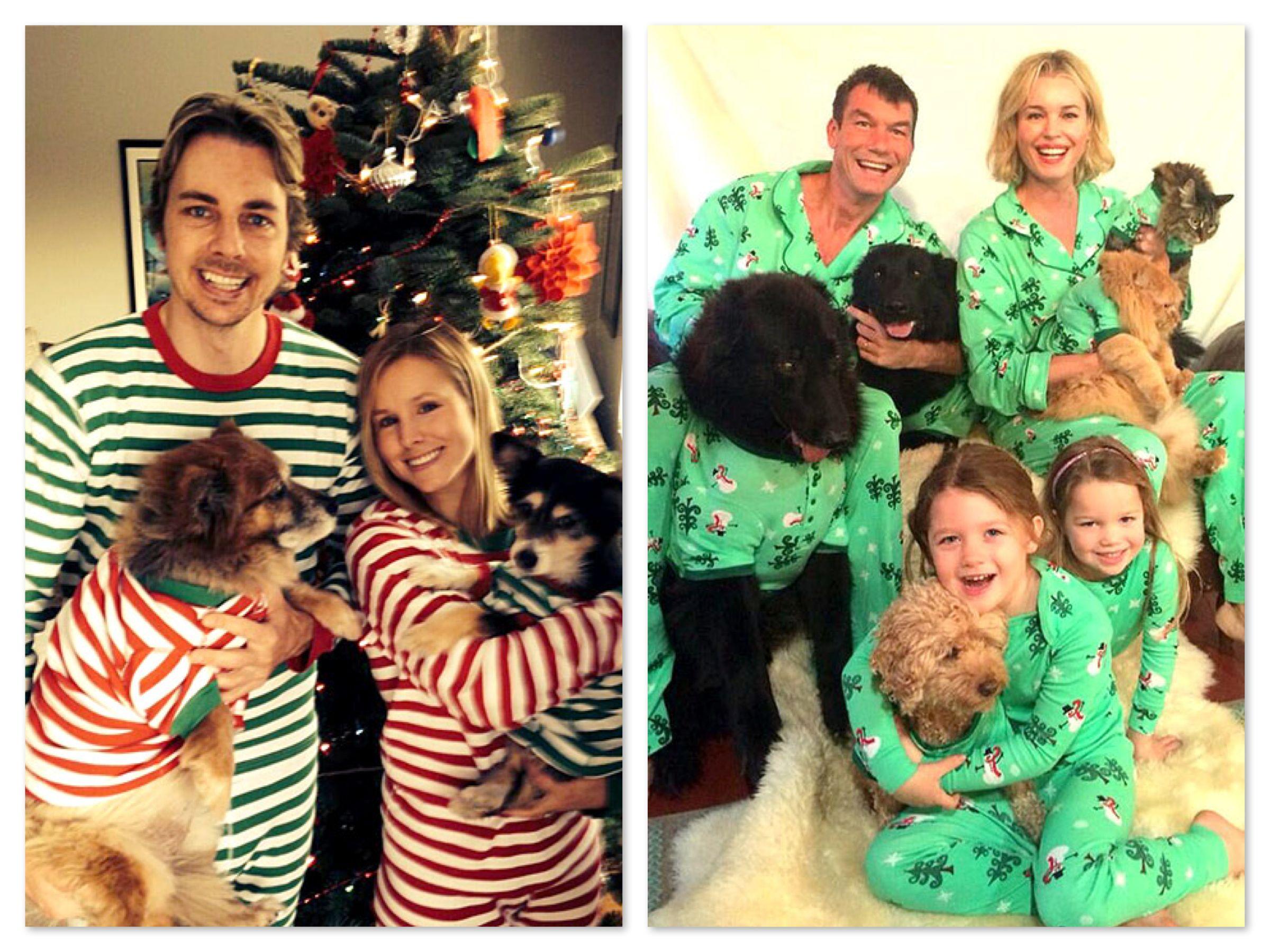 Celebrities wearing matching family pajamas kristen bell for Funny matching family christmas pajamas