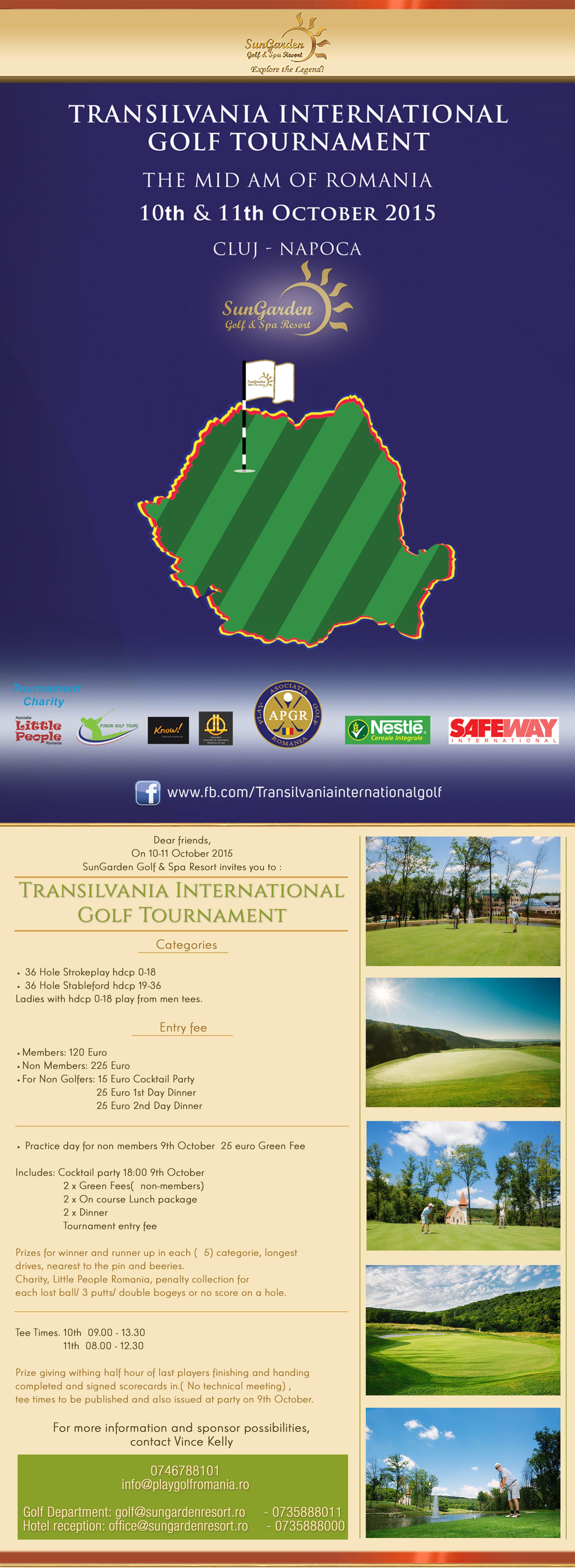 10-11 octombrie Transilvania International Golf Tournament (The Mid- Am of Romania) - Sun Garden Resort