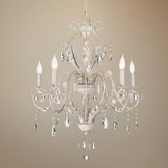 pretty shape. not sure about the antique white. i like that this is both simple and ornate. Kathy Ireland Devon 5-Light Antique White Crystal Chandelier from Lamps Plus, $349