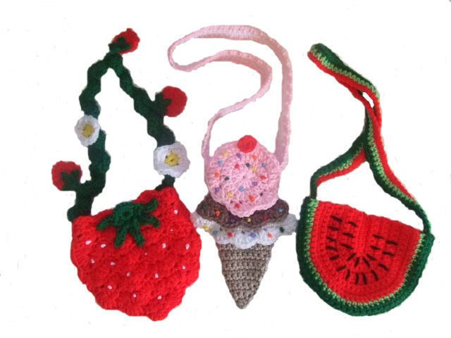 Purse Crochet Pattern, pattern pack includes instructions for a Strawberry purse, an Ice Cream Cone purse and a Watermelon purse. $7.99 http://crochetvillage.com//