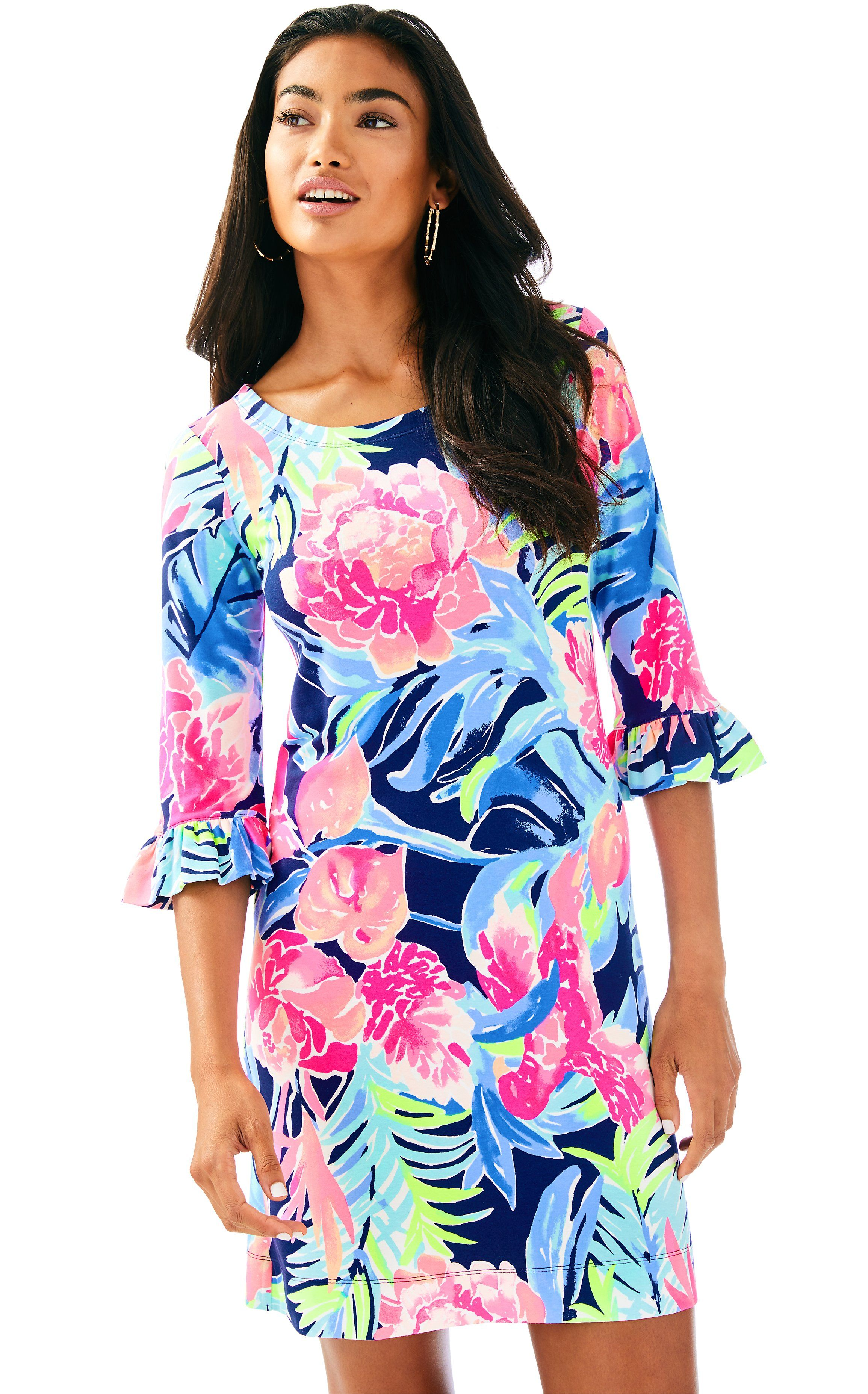 20cffce82b51ca UPF 50+ Sophie Ruffle Dress in High Tide Navy Tropicolada | Lilly ...
