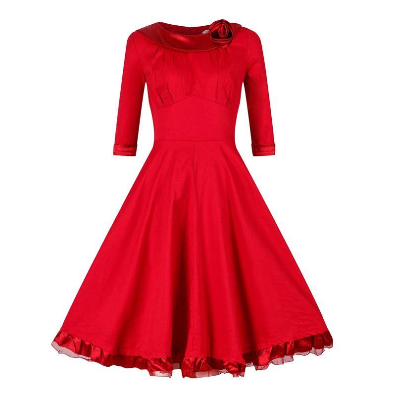 Red Vintage Dresses,50s Style Vintage Dresses,Bateau Vintage Dresses,Rose Vintage Dresses,Long Sleeves Vintage Dresses,Solid Vintage Dresses