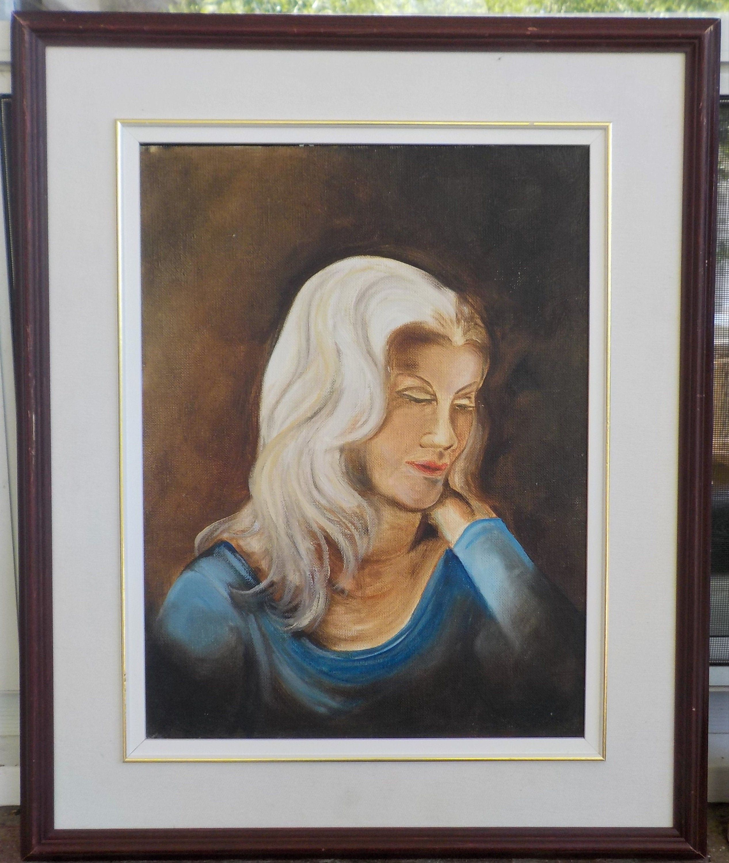 Vintage Retro Platinum White Hair Woman In Blue Naive Oil Etsy In 2020 Portrait Painting Oil Painting Portrait Painting