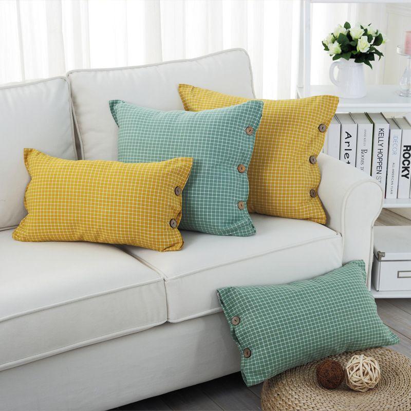 Cotton Plaid Square Throw Pillow Cover Decorative Cushion Shams Pillowcase  Home Sofa Cushion Covers Yellow Grey Green 18x18 Inch
