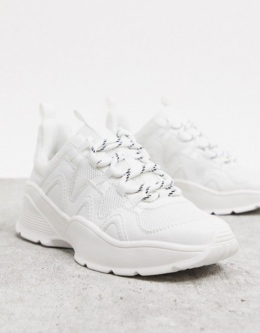 Monki chunky sole trainer with mesh in