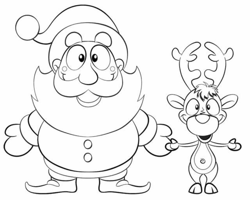 xmas-santa-reindeer-coloring-pagejpg (958×768) Раскраски - new christmas tree xmas coloring pages