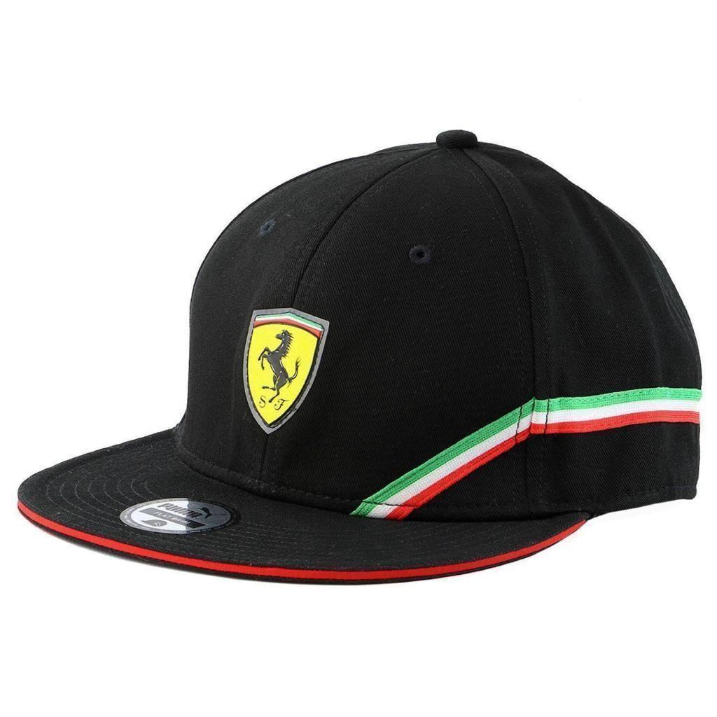 New Puma Ferrari Mens SF Trucker Hat BaseBall Cap Flat Brim -Black 100%  Cotton 76761f74d