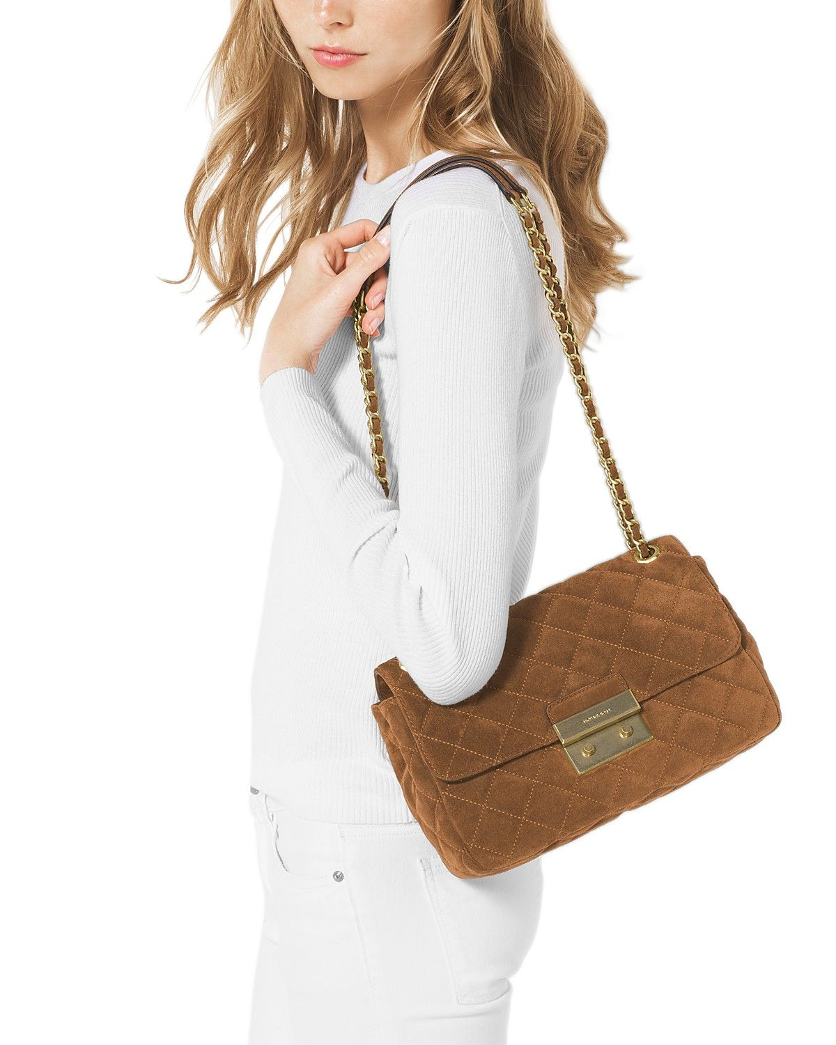 352b405f7ded2e MICHAEL Michael Kors Sloan Large Quilted Suede Chain Shoulder Bag ...