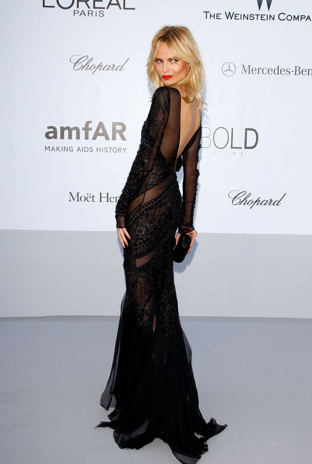 Natasha Poly looking STUNNING in an Emilio Pucci dress at the AMFAR Gala in Cannes