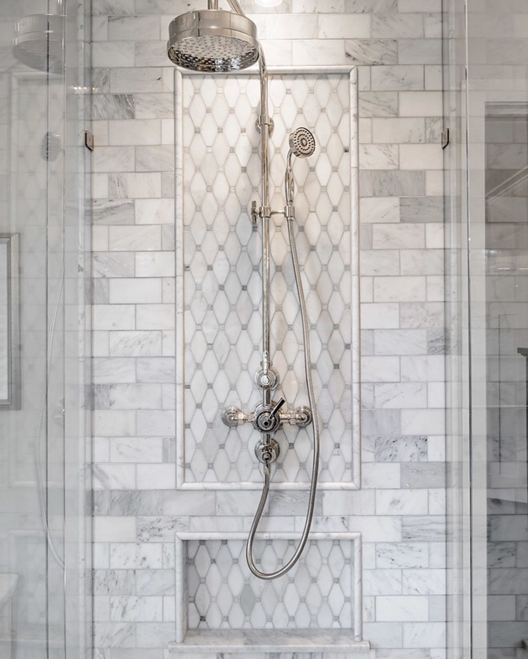 Swipe Left To See One Of The Most Beautiful Showers We Ve Ever Featured By Jenny Marti Traditional Bathroom Traditional Bathroom Designs Elegant Bathroom