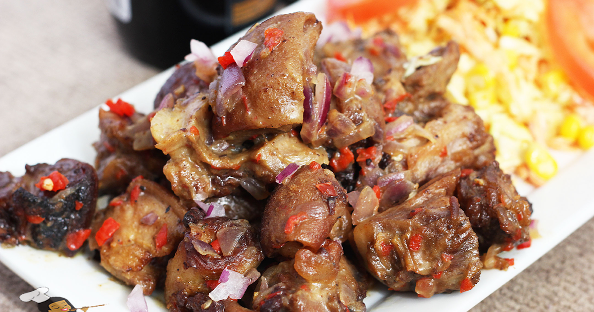Asun Is Nigerian Grilled Spicy Goat Meat It Is A Popular Appetizer And Also Classified As A Nigerian Small Chop Nigerian Food African Cooking Goat Recipes